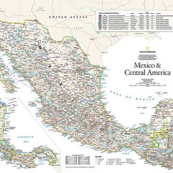Magic Murals - Mexico and Central America Map Wallpaper Wall Mural - Self-Adhesive - Multiple S - Mexico and Central America Map Wall Mural