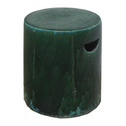 Golden Lotus - Chinese Clay Columnar Green Turquoise Garden Stool Stand - This is an unusual garden stand which is made of clay.  Besides being a garden stand, this kind of stool is getting popular for decorating indoor home. It is mostly use as a table base or flower plant stand.