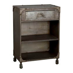 Clarksburg Nightstand - Your bedroom gets a unique makeover when you include this surprising one-drawer nightstand. Its rugged look comes from unconventional steel construction with a cool, aged industrial finish.