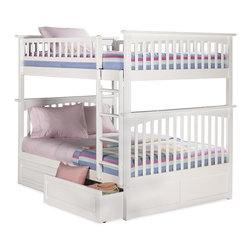 Atlantic Furniture - Columbia Full Over Full Bunk Bed w Raised Panel Bed Drawers - NOTE: ivgStores DOES NOT offer assembly on loft beds or bunk beds. Includes full upper and lower panels, rails, ladder clip-on, slat kits and raise panel drawers. Mattress not included. Solid hardwood Mortise & Tenon construction. 26-Steel reinforcement points. Made of premium, eco-friendly hardwood with a 5-step finishing process. Designed for durability. Guard rails match panel design. Meet or exceed all ASTM bunk bed standards, which require the upper bunk to support 400 lbs.. Pictured in White finish. 1-Year manufacturer's warranty. Clearance from floor without trundle or storage drawers: 11.25 in.. 80.5 in. L x 58.38 in. W x 68.13 in. H. Raise panel drawers: 74 in. L x 24.38 in. W x 12 in. H. Bunk Bed Warning. Please read before purchaseThe Columbia bunk bed features a classic Mission style design with subtle curves and solid post construction.
