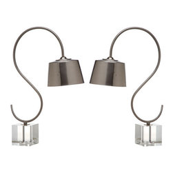 Safavieh - Reed Desk Lamp ZMT-LIT4280A (Set of 2) - Classic with a modern twist, the Reed desk lamp updates the old English banker's lamp with a brushed nickel finish on its curvy base and tapered shade. Standing on a crystal pedestal, its traditional swan neck silhouette is S-shaped for elegant panache. (Sold in set of 2).