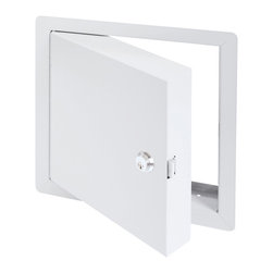 """Best Access Doors - High Security Fire Rated Insulated Access Door with Flange, 16""""x16"""" - The BA-PFI-HS High Security access door is insulated with 2"""" thick mineral wool and can be used on fire rated walls and ceilings. It comes with a 1"""" flange for an easy flush installation on any type of surface. As per UL and NFPA standards, once the installation is complete and the provided springs are hooked to the back of the panel, the door will be self closing and self locking. The largest fire rated PFI doors available for vertical and horizontal installations with temperature rise are respectively: (48"""" x 48"""") and (24"""" x 36"""" or 864 sq inches).   BA-PFI-HS fire rated access door specifications,    -  Material: 14 gauge cold rolled steel frame and 16 gauge galvanneal steel door Insulation: 2"""" mineral wool Hinge: Continuous piano hinge Lock / latch: Mortise slam latch with cylinder Inside panel release: Included on all slam latch fire doors Automatic panel closer: Standard on all doors Finish: DuPont high quality white powder coat Packaging: Individually wrapped, 1 per box Fire Rating: For installation in vertical wall assemblies: Rating 1 1/2 hours.With temperature rise: Rating 3 hours for non-cumbustible assembly and 1 hour for combustible assembly: Temperature rise: Max 250��F (139��C) at 30 mins, 450��F (250��C) at 60 mins. Without temperature rise: Rating: 3 hours for non-combustible assembly and 1 hour for combustible assembly. Standards listed: NFPA 252-2003, UL 10(b), UL 555, CAN/ULC S112 M90-R2001, CAN/ULC S104-10. MEA # 507-06-M Fire rated by Intertek - Warnock Hersey    LEED Certification:    The BA-PFI access door can contribute directly to a project's ability to achieve LEED certification: USA  LEED-NC New Construction & Major Renovations LEED for Schools LEED-CI Commercial Interiors  CANADA  LEED Canada-NC New Construction & Major Renovations LEED Canada-CI Commercial Interiors  Note 1:  Product images shown may not reflect actual size and/or latches.  Please r"""