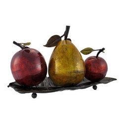 Metal Fruit on Tray Table Centerpiece - This beautifully crafted centerpiece is a colorful accent to any table. It features a golden pear, flanked by two shiny red apples, atop a leaf shaped tray. Made of metal, it measures 11 inches tall, 19 inches long, 10 inches wide, and has foam pads on the bottom of the feet to prevent scratching delicate surfaces. It is painted with metallic enamel paints that add shine and depth to the piece, making lovely to display anywhere in your home.