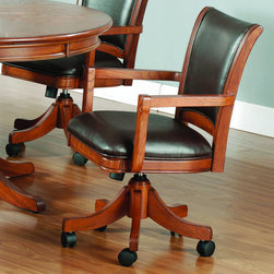 Hillsdale Furniture - Hillsdale Park View Caster Game Chair - Add traditional charm to your game room with Hillsdale Furniture's Parkview Game table and chairs. Finished in a medium brown oak with deep brown leather seat cushions  this set combines comfort with casual living and functionality. With a classic pedestal base and a clean rectangle chair back chair with arms  this multi function table offers a dining surface on one side  a leather topped game surface on the other  as well as storage and checker and backgammon game surfaces underneath the top. Composed of solid woods  climate controlled wood composites  and veneers  this ensemble can find a home in your game room  den  or kitchen. Complete your game room decor with the matching bistro table and barstools.