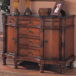 Coaster - Accent Bombe Chest - Traditional style. Six drawers. Two doors. Black marble top. Highly ornate columns. Carved turn feet. Antique finished hardware. Made from wood and veneers. Reddish brown finish. No assembly required. Made in USA. 44 in. W x 20 in. D x 30 in. H. WarrantyWhether it is placed in a hallway, entryway, living room or office, this Bombe Chest is sure to bring refinement into your room with its classy, traditional nature. Drawers and cabinet doors provide ample space for storage of papers and other valuable items. It is the design and rich, however that make the biggest statement. With so much prestige and embellishment, it is no question that this Bombe chest will become a focal point in your home.