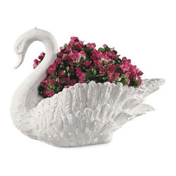 Ladybug - Swan Planter in Dover White Finish - Weather resistant finish. 1-Year warranty. Made in USA. Made of pecan shell resin. 16 in. W x 11.50 in. D x 22 in. H (20 lbs.)The finishes are applied by hand, enhancing every detail, and resulting in the uniqueness of no two pieces being exactly alike. Each individually hand-crafted piece of Ladybug product is cast in a crushed marble or resin composition which has the ability to capture and reproduce the same definition and minute detail as the original. It is a substantial, non-porous material which does not absorb moisture, making it ideal for outdoor use, although it offers the strength and durability required to endure even extreme weather conditions.