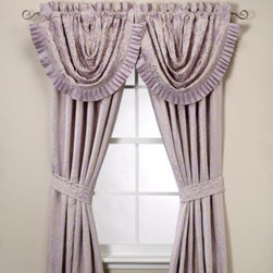 J. Queen New York - J. Queen New York Chateau 84-Inch Window Curtain Panel Pair - The ornate jacquard style of these window treatments features a raised line scroll and floral design on a refreshing solid lilac background. The soothing color palette and romantic design offers the ultimate in femininity for your decor.