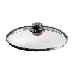 "Swiss Diamond - 10.25"" Tempered Glass Lid - Swiss Diamond uses tough, heat-tempered glass to ensure that our glass lids provide convenient durability. This 10.25 inch (26 cm) model was created for the Swiss Diamond Fry Pan and Saute Pan, but it could also be used as a universal lid to cover any 26cm pot or pan. The adjustable knob can be rotated to open and close the integrated steam vent  this allows the chef to control moisture while cooking, without lifting the lid. It is safe for oven use, up to 260 C (500 F). Avoid exposing this or other glass articles to rapid heat changes, such as exposing a hot lid to cold water."