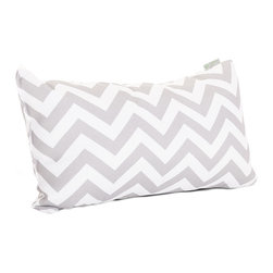Majestic Home - Outdoor Gray Chevron Small Pillow - Add a splash of color and a little texture to any environment with these great indoor/outdoor plush pillows by Majestic Home Goods. The Majestic Home Goods Small Pillow will add additional comfort to your living room sofa or your outdoor patio. Whether you are using them as decor throw pillows or simply for support, Majestic Home Goods Small Pillows are the perfect addition to your home. These throw pillows are woven from Outdoor Treated polyester with up to 1000 hours of U.V. protection, and filled with Super Loft recycled Polyester Fiber Fill for a comfortable but durable look. Spot clean only.