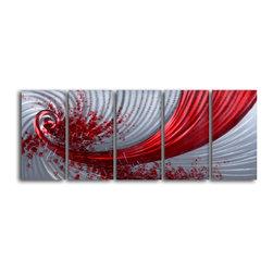 My Art Outlet - Metal Wall Art Decor Abstract Contemporary Modern Sculpture Hanging - Razor Wind - Razor Wind - 5 Piece Handmade Metal Wall Art Set