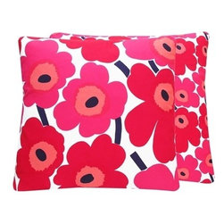 Chloe and Olive - Marimekko Unnikko Poppies Throw Pillow, Red Pink Floral, 20x20 - Most popular Marimekko poppy print since being introduced in the early 60's! Blending two iconic and vibrant Marimekko fabrics, our Popping Poppies Collection offers the versatility of two unique looks found on one pillow.