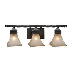 Golden Lighting - Golden Lighting 1850-BA3 Wrought Iron Three Light Bathroom Fixture from the Gene - *Requires 3 60w Medium Bulbs (not included)Features 3 Evolution Glass Shades and a Roan Timber Finish