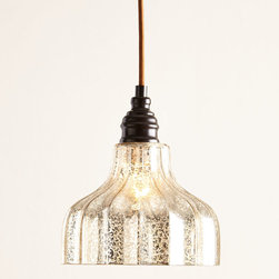 "Horchow - Danica Pendant Light - Danica Pendant LightDetailsMade of glass and metal.Mercury-glass finish.Uses one 60-watt bulb.Ceiling canopy included.Direct wire; professional installation required.8""Dia. x 9""T with 6' cord.Imported.Weight 3 lbs. Boxed weight approximately 9 lbs. Please note that this item may require additional delivery and processing charges."