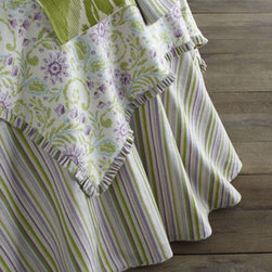 "French Laundry Home - French Laundry Home ""Pretty Purple"" Striped Round Tablecloth, 90""Dia. - Feminine and pretty, these refreshing table linens in soothing shades of green and purple create spring-inspired table settings any time of the year. Striped round table cloth made of linen/rayon blend, 90""Dia. Floral square table topper with striped...."