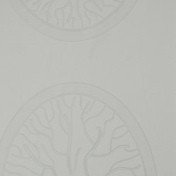 Walls Republic - Thrilling Grey Wallpaper R1346, double roll - Thrilling is a large scale medallion pattern adorned with branch and jewel imagery. In a variety of tones this wallpaper will create a bold look. Use it in a bedroom or living room for a grand dramatic aesthetic.