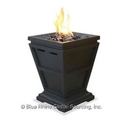 Blue Rhino - Gas Column Firepit Small LP - Blue Rhino /Uniflame LP Gas Column Firepit - Black Glass Faux Stone case Small