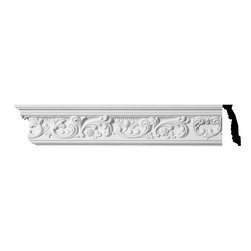 Renovators Supply - Cornice White Urethane Cannes - Cornice - Ornate | 11362 - Cornices: Made of virtually indestructible high-density urethane our cornice is cast from steel molds guaranteeing the highest quality on the market. High-precision steel molds provide a higher quality pattern consistency, design clarity and overall strength and durability. Lightweight they are easily installed with no special skills. Unlike plaster or wood urethane is resistant to cracking, warping or peeling.  Factory-primed our cornice is ready for finishing.  Measures 4 3/8 inch H x 94 inch L.
