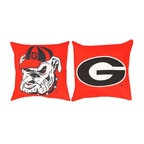 """Manual - University of Georgia Bulldogs 20 Inch Reversible Throw Pillow - This 20 inch throw pillow is a perfect accent piece for any fan, student or alumnus of the University of Georgia The 100% polyester fabric is durable, fade and moisture resistant, and is sure to look and feel great for years, wherever you display it. The front of the pillow features the University of Georgia """"UGA"""" bulldog logo, and the back has the oval """"G"""" logo. The pillow is proudly made in the USA. This pillow is perfect on chairs, couches, and beds in your home or on your boat- buy a pair and display one on each side for a matching set!"""