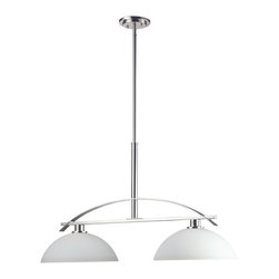 Z-Lite - Z-Lite 2 Light Island Light - With a stunning chrome arch, this two light fixture is a masterpiece of contemporary design. Matte opal shades hung bottom open create a soft modern glow, while the beautiful chrome detailing makes for a bold and cutting edge statement. Adjustable telescoping rods are included to ensure the perfect height for hanging.