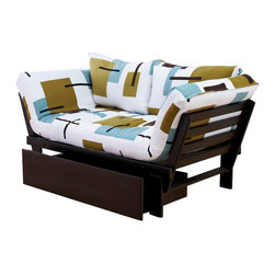 Kodiak Furniture - Elite Espresso Futon Lounger in Reconstruction, Futon Set with Drawer - This futon set includes frame, mattress, tufted cover and pillows. The futon can be used in 3 positions: guest bed, sofa and lounger. The futon is made of high quality materials. Solid wood frame will serve for many years. You can add a matching drawers. Mattress upholstered in Reconstruction (finish) fabric.
