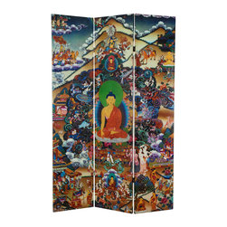 Oriental Furniture - 6 ft. Tall Footprints of Enlightenment Double Sided Canvas Room Divider - Reproduced in stunning color from the Tibetan original, this room divider depicts the Buddha meditating beneath the Bodhi tree at the exact moment he achieved enlightenment. Beset on all sides by powerful demons representing desire, doubt, temptation, and other distractions, the Buddha defeats them all with focus and concentration. Left hand held still in meditation, with his right hand he calls upon the earth itself to bear witness to his triumph. Printed on high quality natural canvas on both sides of this folding screen, this powerful image is a beautiful accent for any home, yoga studio, or meditation center.