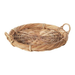 Eco Displayware - Large Rattan Brie Tray in Natural - Earth friendly. 18 in. Dia x 2.5 in. H (2.95 lbs.)Using these tray baskets can add an old world touch to your dining table.