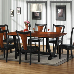 7 PC Black Cherry Wood Dining Set Table Chairs Leather Seat 102090 - Make this stylish rectangular dining table an amazing focal point in your dining area. It features an ornately designed double pedestal butterfly base with trestle and a richly veneered top. Bathed in a two-tone black and cherry finish, this piece will add a sophisticated elegance to your décor. Complete seating with the coordinating dining chairs.