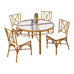 Home Styles - Home Styles Bimini Jim 5 Piece Dining Set in a Light Natural Finish-48 Inch Tabl - Home Styles - Patio Dining Sets - 5565328 - A unique take on bamboo style the Bimini Jim 5 Piece Dining Set by Home Styles is constructed of extruded aluminum in a light natural finish. Set includes: One (1) table and Four (4) Chairs.