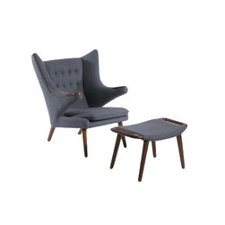 Phante Lounge Chair and Ottoman - This Wegner-style Phante Chair is sure to add style and sophistication to your living space. Available in a rich grey tone cashmere fabric, that will coordinate well with any decor.