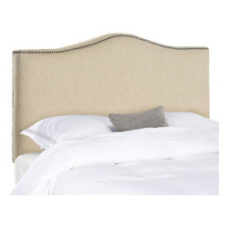 Safavieh - Dale Twin Headboard - Create a serenely elegant bedroom or master suite with the soft camelback silhouette of the Dale twin headboard in pure linen in a chic hemp tone. Tailored brass nailheads outline this impeccably crafted oasis of relaxed sophistication.