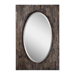 "Uttermost - Natural Wood Tone w Burnished Distressing Mirror - Frame features a heavily distressed and antiqued, natural wood tone finish with burnished distressing. Mirror features a generous 1 1/4"" bevel. May be hung either horizontal or vertical."