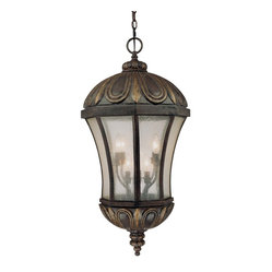 Savoy House - Ponce de Leon Hanging Lantern - Superbly elegant as it hangs from your home, this lantern is like a glowing torch to guide your way. The weather-proofed metal frame is finished with bronze and gold highlights that will stand the test of time. Textured glass lets out the loveliest glow you've ever seen.