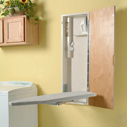 None - HANDI-PRESS Electric Deluxe Ironing Center - This deluxe electronic ironing center from HANDI-PRESS features a ventilated metal, swiveling ironing board that hides away in a metal cabinet with a birch door. The 42-inch board, electrical outlet, and hot iron storage all fit in the cabinet.
