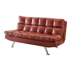 Coaster - Coaster Casual Extra Plush Sofa in Red Faux Leather - Coaster - Convertible Sofas - 300120 - Add a splash of color to your living room, loft or apartment with this sofa bed covered in red leather-like fabric. Features extra plush pillow-top cushions for comfort and support as well as chrome finished legs. This sofa bed is sure to make a modern statement in your room.