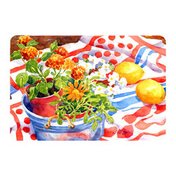 Caroline's Treasures - Flowers With A Side Of Lemons  Kitchen Or Bath Mat 20X30 - Kitchen or Bath COMFORT FLOOR MAT This mat is 20 inch by 30 inch.  Comfort Mat / Carpet / Rug that is Made and Printed in the USA. A foam cushion is attached to the bottom of the mat for comfort when standing. The mat has been permenantly dyed for moderate traffic. Durable and fade resistant. The back of the mat is rubber backed to keep the mat from slipping on a smooth floor. Use pressure and water from garden hose or power washer to clean the mat.  Vacuuming only with the hard wood floor setting, as to not pull up the knap of the felt.   Avoid soap or cleaner that produces suds when cleaning.  It will be difficult to get the suds out of the mat.