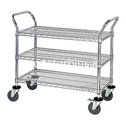 "Wire Shelving - This wire cart comes complete with 3 shelves.  The shelves measure 18"" x 36"".  The height of this cart is 37-1/2"".  Perfect for storage and transportation of items and documents in a home office setting.  Visit Monster Bins to view our entire selection.  http://monsterbins.com/"