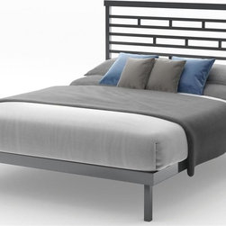Amisco - Highway Platform Bed in Glossy Gray Finish (F - Choose Size: FullMagnetite metal frame. Full: 78.5 in. L x 54.5 in. W x 47.25 in. H (104 lbs.). Queen: 83.5 in. L x 62 in. W x 47.25 in. H (106 lbs.)
