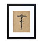 "Fiber and Water - Vintage Corkscrew Art - There's a reason ""vintage"" means ""classic"": Wine is one of the most timeless and universal delights in the world. This vintage corkscrew print is a tribute to a cultural pleasure that will never go out of style. Hand-printed onto burlap for a touch of rustic charm, it's stylishly framed in a contemporary black frame and white matte. Perfect for the kitchen or bar area or near the wine rack."