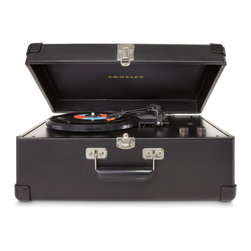 Crosley - Entertainment Center  Traveler Turntable - Black - Enjoy a whole new level of LP independence with the Crosley CR49 Traveler. Inspired by the original portable turntables of the late 1950s, the belt-drive unit is versatile enough to play all three common speeds--33-1/3, 45, and 78 rpm--so you're not restricted to any one part of your vintage record collection. In addition, the table's black suitcase housing includes a pair of built-in, full-range stereo speakers, in effect turning the Traveler into a LP boombox (though without the battery power). The effortless portability makes this a great turntable for traveling, visiting friends, or simply enjoying albums in the garage, basement, or other secondary rooms. The case is stylish, too, with a vintage appearance that beautifully complements traditional furnishings. The Traveler even comes with an adjustable tone control, adding to its versatility, along with a diamond-stylus needle. So whether your tastes run to classic jazz or modern rock, savor your vinyl in style with the Crosley Traveler.