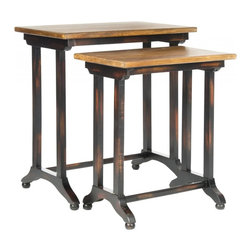 Safavieh - Ava Nesting Table - Industrial-chic style defines the Ava nesting tables, a practical entertainment solution for casual contemporary homes. Birch wood is used in black for legs and bases, and in medium oak tone to reveal the table tops' natural graining. No assembly required.