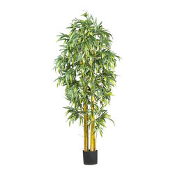 Nearly Natural - 6' Big Bamboo Silk Tree - Not for outdoor use. Lush foliage and tropical appeal. Natural trunks. Enhance any room or office space. Included Non Decorative Nursery Pot size: 7.25 in. W X 6.75 in. H40 in. W X 40 in. D X 6 ft. H (21lbs). Bring the lush foliage of the tropics indoors! With thousands of luxurious leaves and standing a majestic six feet tall; our Bamboo Tree is a dramatic replica of trees commonly grown in warmer climates. This tree will compliment any decorating style in your home or office (group several for a dramatic appeal!)