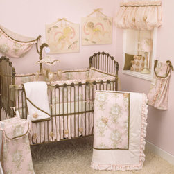 Cotton Tale Designs - Lollipops & Roses 7 Piece Crib Bedding Set - A quality baby bedding set is essential in making your nursery warm and inviting. All Cotton Tale patterns are made using the finest quality materials and are uniquely designed to create an elegant and sophisticated nursery. Lollipops & Roses is a graceful collection of pinks, cream, and tan. The Lollipops & Roses 7 Pc Set includes the 3 Pc Crib Bedding(dust ruffle, coverlet, crib sheet) diaper stacker, toy bag, valance, and pillow pack. The dust ruffle is of pink shimmer and is accented with organza ribbon roses. Pink angel toile, cream minky, pink shimmer, and tan velvet come together in this stylish coverlet adorned with organza ribbon roses. Complete the bedding set with a natural floral print fitted sheet. Part of the Lollipops & Roses 7 Pc Set this diaper stacker of pink angel toile and cream minky trim, can be tied with its tan velvet bows to your changing table or to the side of your baby's crib. Wash gentle cycle, separate, cold water. Tumble dry low or hang dry. This toy bag made of pink angel toile with tan velvet ties and pink shimmer ruffle trim can be tied to your changing table or hung to decorate your walls, but never tie to the crib. Delicately ballooned valances are the perfect compliment for this nursery window. The valance of pink shimmer and stylish organza ribbon roses measures 45 in.  X 14 in. -16.5 in. . The final part of the Lollipops & Roses Bedding 7 Pc Set is this pillow pack. It features two pillows(each measuring 12x12). One of brown velvet adorned with one rose in the center of the pillow while the other pillow features nine roses on a pink pillow. Cotton poly blend with a poly fill. Can be used together or separate. Pillows are for decorative purposes and should never be used in the crib. Spot clean only. This is the perfect set for your little princess. NO BUMPER INCLUDED IN THIS SET.