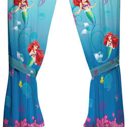 Franco Manufacturing - Disney Little Mermaid Drapes Flower Swirls Window Curtains - FEATURES: