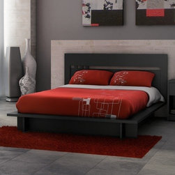 "Stellar Home - Milan Queen Platform Bed - The clean and pure lines of this Milan collection are created for a unique bedroom impregnated of simplicity and good taste. This bedroom collection from Stellar Home Furniture is constructed of durable engineered wood in solid black laminate finish made for years of use. The collection from Stellar Home Furniture includes platform beds, a nightstand, a headboard and a dresser (all sold separately). For environmental concern the collection made of recycled wood is packed with a 100% recycled cardboard, without the use of foam. Stellar Home Furniture is a Canadian lifestyle brand inspired by the beauty and the harmony of forms and colors. This globally influenced brand promotes innovative and affordable furniture for modern living. Features: -Milan collection. -Solid black finish. -Engineered wood construction. -Optional headboard. -Laminate finish for more durability. -Full board for better support. -Manufacturer provides 5 years limited warranty. -Overall Dimensions: 9.5"" H x 68"" W x 85"" D."