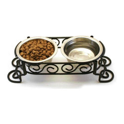 Ethical Pet - Stainless Steel Scroll Work Double Diner - 676420 - Shop for Dog Dishes and Waterers from Hayneedle.com! About EthicalEthical Products is focused on providing quality sustainable products for dog and cats. We market products under the SPOT brand which includes dog and cat toys dishes waste management products and other dog and cat accessories. Our Fashion Pet division markets a complete line of dog apparel. As a company Ethical Products has won prestigious new product awards at the Global Pet Exposition show with brands being cited as leaders in the annual survey conducted by Pet Age magazine.Please note this product does not ship to Pennsylvania.