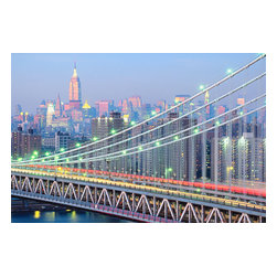 Custom Photo Factory - Brooklyn Bridge in New York Canvas Wall Art - Brooklyn Bridge in New York  Size: 20 Inches x 30 Inches . Ready to Hang on 1.5 Inch Thick Wooden Frame. 30 Day Money Back Guarantee. Made in America-Los Angeles, CA. High Quality, Archival Museum Grade Canvas. Will last 150 Plus Years Without Fading. High quality canvas art print using archival inks and museum grade canvas. Archival quality canvas print will last over 150 years without fading. Canvas reproduction comes in different sizes. Gallery-wrapped style: the entire print is wrapped around 1.5 inch thick wooden frame. We use the highest quality pine wood available. By purchasing this canvas art photo, you agree it's for personal use only and it's not for republication, re-transmission, reproduction or other use.