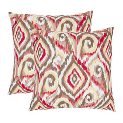 Safavieh Ikat 18-inch Brown/ White Decorative Pillows (Set of 2) -