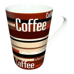Konitz - Set of 4 Mugs Coffee Stripes - Soon to be your favorite coffee mug! Contemporary striped design in varying shades of brown gives you with the creative style you've been looking for.