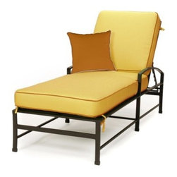 Caluco San Michele Single Chaise Lounge - Sit poolside or on your deck or patio while relaxing comfortably in the Caluco San Michele Single Chaise Lounge. With sleek lines and refined curves, this chaise lounge has a contemporary European flair that is set off by the comfortable cushions which are available in your choice of color. Crafted from durable, rust-resistant tubular aluminum, this chaise lounge has a powder coated frame in charcoal gray as well as a clear coat which provides maximum UV protection and makes the frame chip and fade resistant. The adjustable back allows you to lie flat or to recline while you enjoy reading, a cold drink, or just talking with friends. Fully welded for extra strength and durability, the frame also has weep holes throughout which allows moisture to exit and extends the life of your chaise lounge. Easy to maintain with mild soap and water, this chaise lounge also includes a limited 10 year warranty.Additional FeaturesDesigned with a contemporary European flairFeatures sleek lines and refined curvesAdjustable back provides maximum comfortClear coat provides maximum UV protectionFade- and chip-resistantFully welded for extra strength and longevityEasy to maintain with mild soap and waterAdjustable nylon glidesStainless steel hardwareWeep holes allows moisture to exit the frameAbout CalucoCaluco Patio Furniture is a direct importer of high-end outdoor patio furniture. They specialize in providing Grade A aluminum, teak and wicker furniture, expertly manufactured, and sold to you at affordable prices. Their outdoor patio furniture is shipped directly to their 40,000 square foot facility in San Fernando, California; and from their facility, they ship it directly to you. Their clients choose them for their expertise and their ability to combine high end quality with customer care, without the high-end pricing.