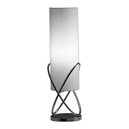 None - Alanna Table Lamp - With its gray shade for bright light in any room, this modern chrome table lamp also features a unique metal design. This lamp sits on your table and has a simple dimmer switch for adjustable brightness. It also has a cylindrical shade.